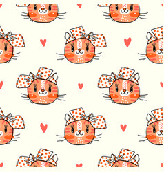 seamless pattern with cute fase cats and bows vector image