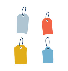 set blank dangling paper labels or cloth tags vector image