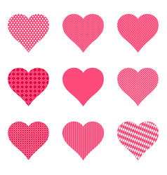 Set bright hearts with pattern vector