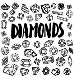 Set free hand diamond vector