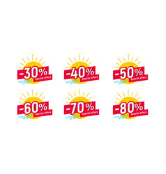 set labels for summer sale with sun and waves vector image