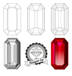 Set octagon cut jewel views vector