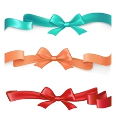 Set of satin ribbons with bows in different vector