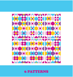 Set of six bright seamless patterns abstract vector