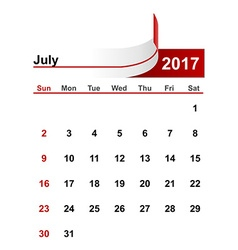 Simple calendar 2017 year july month vector