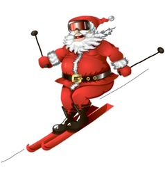 skiing santa isolated vector image