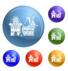 small village house icons set vector image