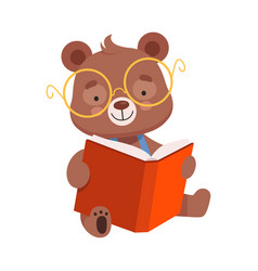 Smiling bear character wearing glasses reading vector