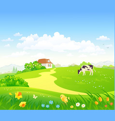 Spring country scenery vector