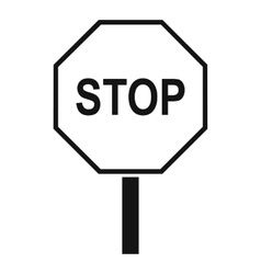 Stop road sign icon simple style vector