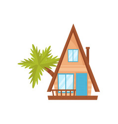 summer beach tropical bungalow vector image