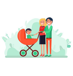 Toddler kid in pram mother and father with child vector