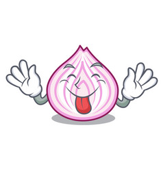Tongue out fresh slice onion isolated on mascot vector