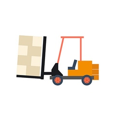 Transport flat forklift icon isolated on white vector image