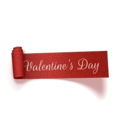 Valentines Day realistic red scroll Ribbon vector image