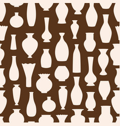 vases silhouettes seamless pattern ancient vector image