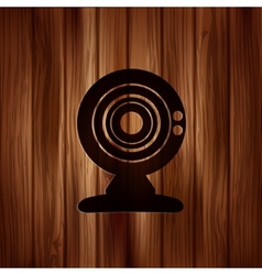 Web camera icon Wooden texture vector image