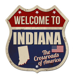 Welcome to indiana vintage rusty metal sign vector