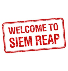 welcome to Siem Reap red grunge square stamp vector image