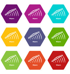 wipers icons set 9 vector image