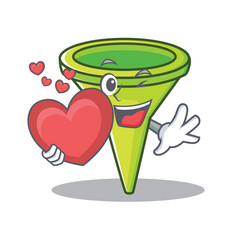 With heart funnel character cartoon style vector