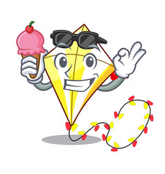 With ice cream kite small the cartoon on table vector