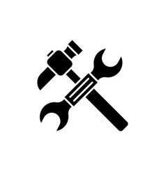 wrench and hammer black icon sign on vector image