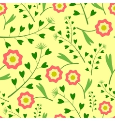 Yellow Pattern with Flowers and Grass vector image