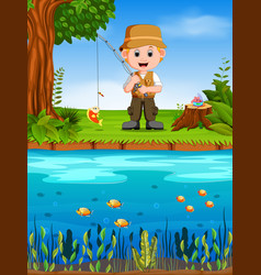 fisherman fishing in a river vector image