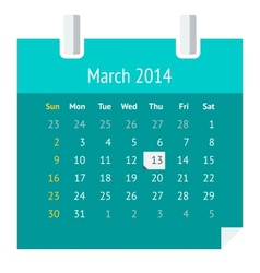 Flat calendar page for March 2014 vector image vector image