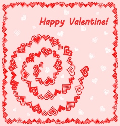 Frame with hearts happy Valentine vector image vector image