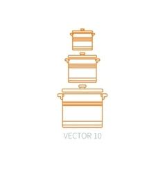 Line flat kitchenware icons - pan pot vector image vector image