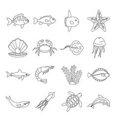 sea animals icons set otline style vector image