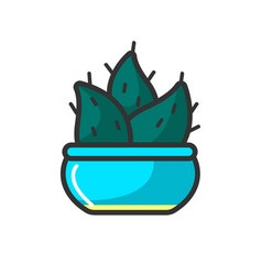 small cactus in blue pot vector image vector image
