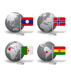 gray earth globes with designation of laos vector image vector image