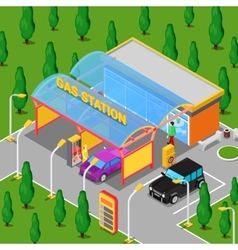 Isometric Gas Station with Cars and People vector image