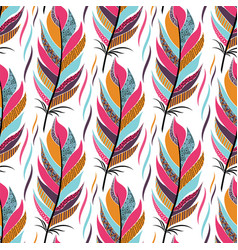 Seamless pattern with large colored feathers and vector