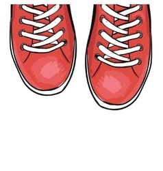 Summer trendy sports shoes Red shoes vector image vector image