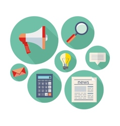 Icon set for office and business objects vector image
