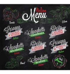 Menu Italian chalk color vector image vector image