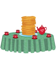 Pancakes in a dish on table vector image