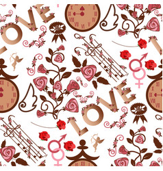 valentine s day seamless pattern red hearts vector image