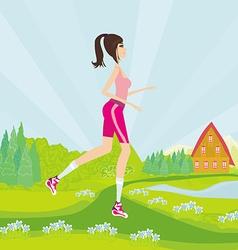 Young woman jogging at park vector image