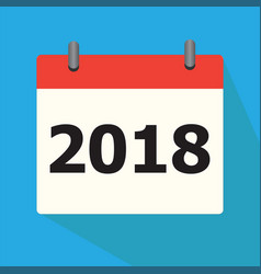 calendar 2018 icon on blue background calendar vector image