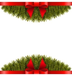 Christmas tree branch decorated with red bow vector image