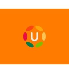 Color letter U logo icon design Hub frame vector image vector image