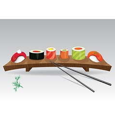 Food sea set Sushi details of japanese cuisine vector image vector image