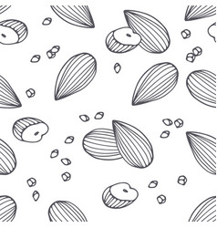 hand drawn outline seamless pattern with almond vector image vector image