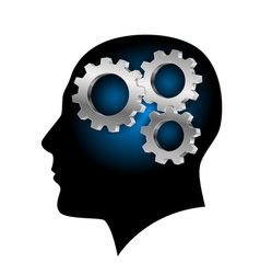 humans brain with gearwheel inside on white vector image