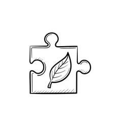 puzzle piece hand drawn sketch icon vector image vector image